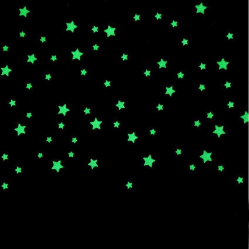 100PCS 3D Stars Glow In Dark Luminous Fluorescent Plastic Wall Sticker Home Decor