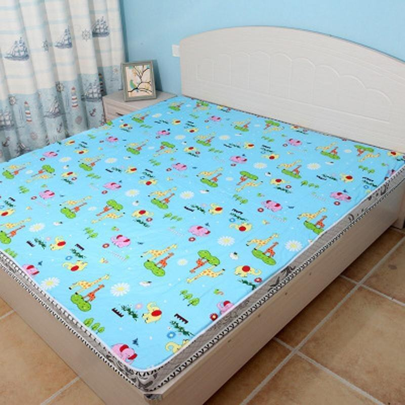 200*180CM Baby Adult Mat Diaper Urine Infant Covers Bedding Waterproof Travel Nappy Nursing Pads-Blue Zoo - intl