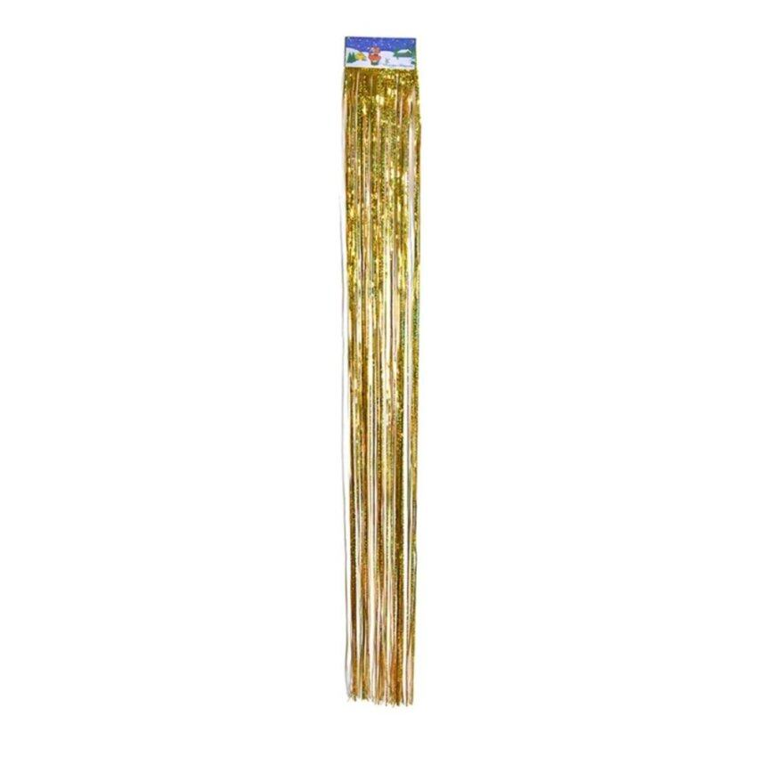 2Pcs Metallic Tinsel Foil Fringe Door Window Curtain Wedding Party Decoration Gold - intl
