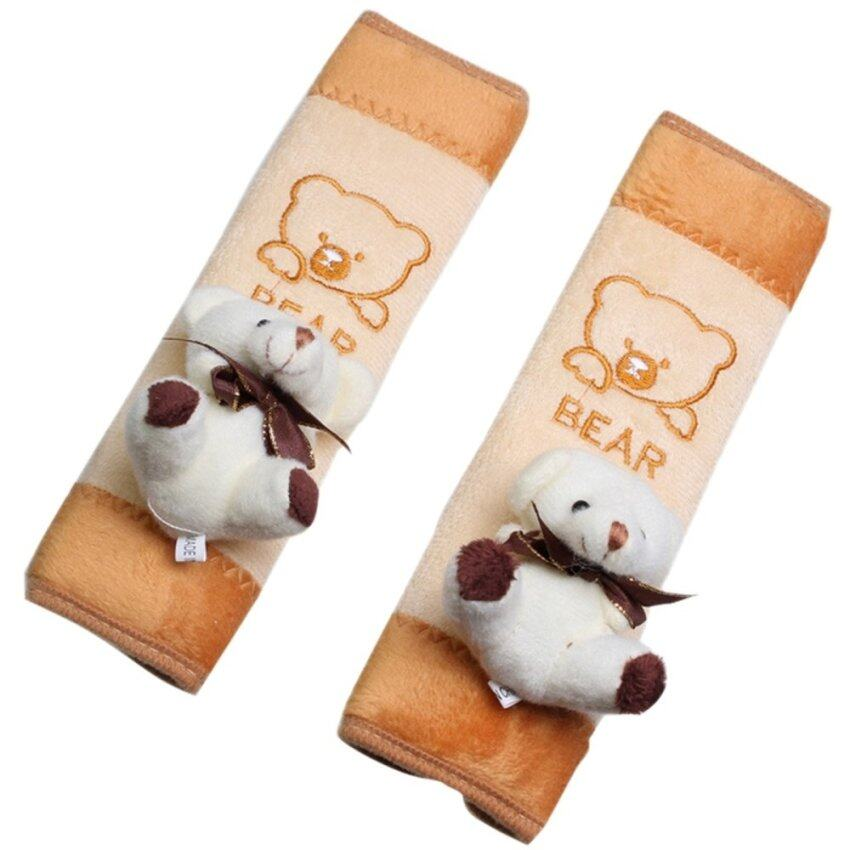 AOXINDA 2 x Baby Children Bear Plush Seat Belt Shoulder Pad Pillow Covers Cushion for Any Car Safety Seatbelt