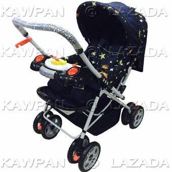 Attoon รถเข็นเด็ก ปรับ 3 ระดับ (นั่ง/เอน/นอน) + ของเล่นเสียงดนตรี รุ่นใหญ่พิเศษ - รูปดวงดาว สีดำ