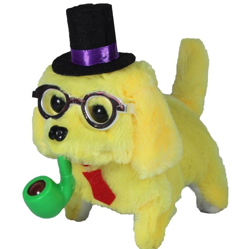 ตุ๊กตา ตุ๊กตาสุนัขคาบไปร์ท เดินเห่า สีเหลือง B116-2