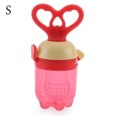 Babies Nipple Fresh Fruit Vegetable Feeder Push Type Tool with Chew Pacifier (SIZE:S) (Red) - intl ส่งฟรี