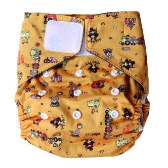 Baboon baby กางเกงผ้าอ้อมซักได้ ฟรีไซส์ แรกเกิด-2ขวบ เอวเทป พร้อมแผ่นซับชาโคลแบมบู5ชั้น (สีส้ม)