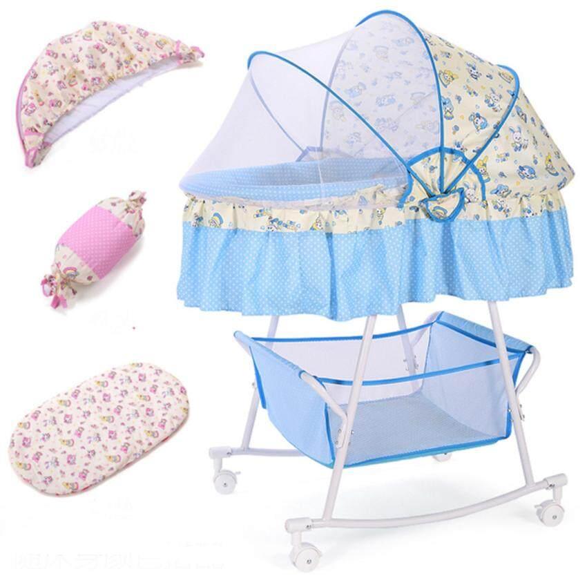 Baby Angels เปลนอนเด็กอ่อน แบบ 2 ชั้น ปรับโยกได้ มีล้อเข็นได้ พร้อมเบาะรองนอน หมอน และมุ้ง ครบชุด สีฟ้า ลายกระต่ายน้อย น่ารัก น่าใช้มาก