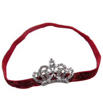 Baby Kids Crystal Crown Hair Band Princess Headwear Diamond Bridal Soft Prom Fabric Red Band