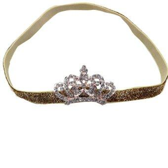 Baby Kids Crystal Crown Hair Band Princess Headwear Diamond Bridal Soft Prom Fabric Yellow Band