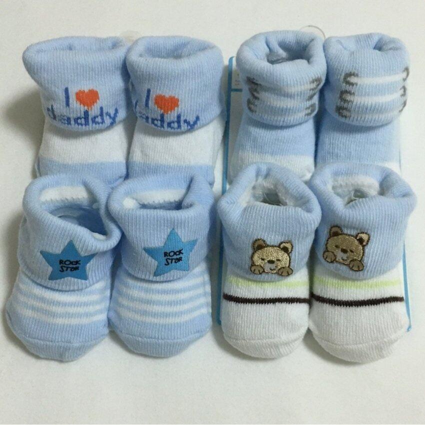 Baby ถุงเท้าเด็กแรกเกิด - 6เดือน setสีฟ้า 4 คู่ ...
