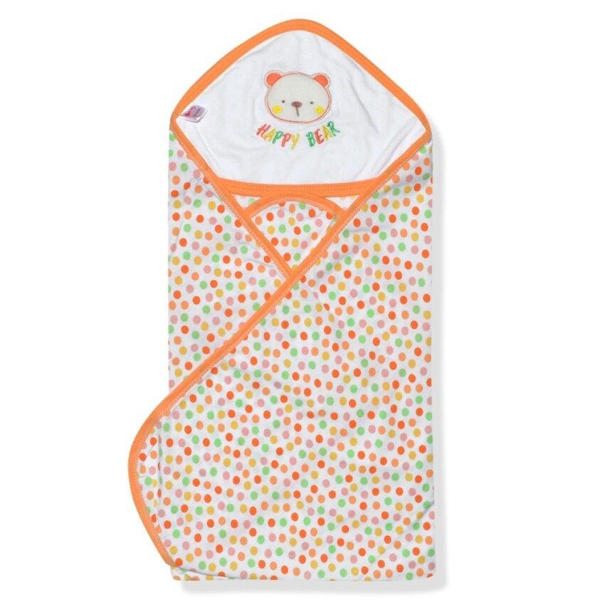 Babybrown ผ้าห่ม/ผ้าห่อตัว สีส้มจุด ลายหมี