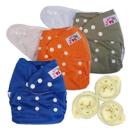 BABYKIDS95 กางเกงผ้าอ้อมกันน้ำ+แผ่นซับไมโครฯ Size:3-16กก. เซ็ท3ตัว (Dark Blue/Orange/Gray)