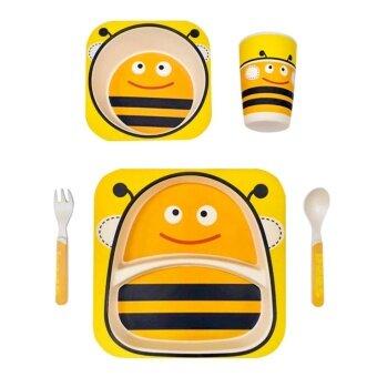 Bamboo Fiber Tableware - ชุดจานชาม + ช้อนส้อมและแก้วอนุรักษ์ธรรมชาติ ปลอดสาร สำหรับเด็กลายผึ้ง 1 ชุด