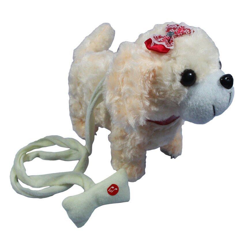 BKL TOY ตุ๊กตา สุนัข เต้น จูงเชือก มีเสียง สีครีม PNT002-1 ...
