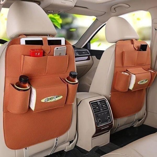 Car Back Seat Organizer Holder Ceiling Travel Storage Bag Hanging Bag Random Color - intl