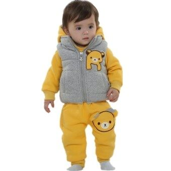 Cartoon Printed Velvet Added Vest Hoodie with Pant for Winter (Yellow)
