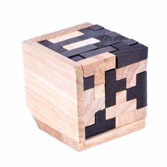 Educational Tetris Shape Wood Puzzles 3D Brain Teaser T Shape Jigsaw Puzzle Toy For Adults Kids