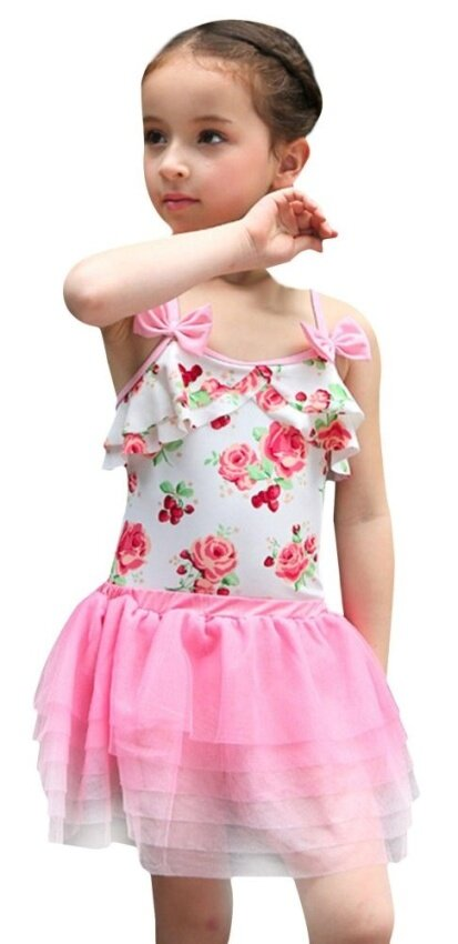 EOZY 3 Pcs Korean Fashion Baby Girls Swimming Suit Floral Print Swimwear Beachwear Bathing Suit (Pink) - intl