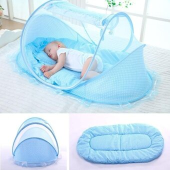 Folding Mosquito Net for Baby + Baby Bedding Cotton Pillow & Mattress Music Bag - intl