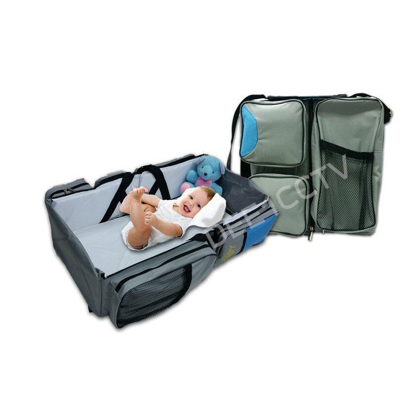 GANEN ที่นอนและกระเป๋าเด็กแบบพกพา BABY BAG & TRAVEL BED ( BLUE) ...