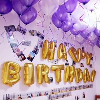 สุขสันต์วันเกิดฝ้าอลูมิเนียมฟอยล์เงิน/ทองเซ็ตปาร์ตี้ Glold ลูกโป่ง