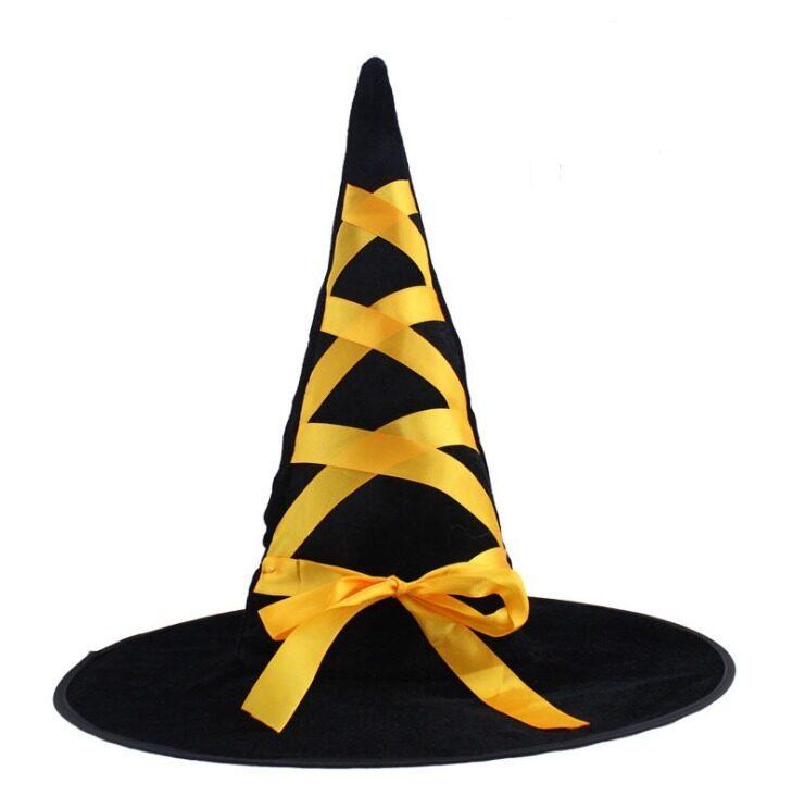 Halloween Ribbon Velvet Witch Hat Yellow-intl