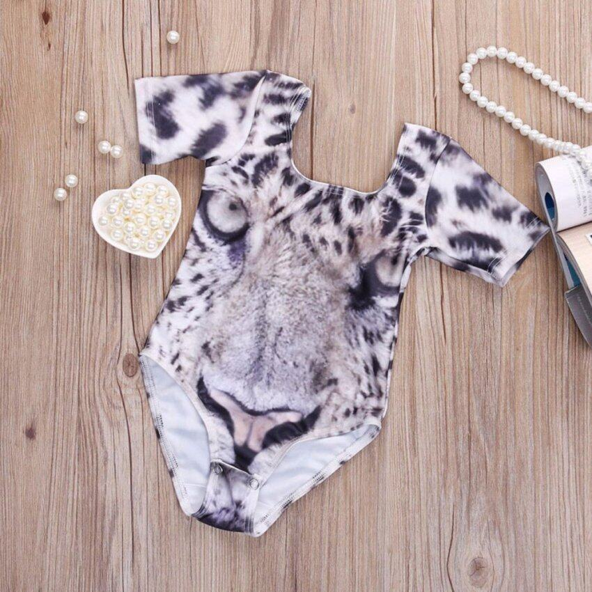 HengSong Girls Kid 3D Tiger Face Print Swimwear Summer One-piece Swimsuit Bathing Suit Beachwear
