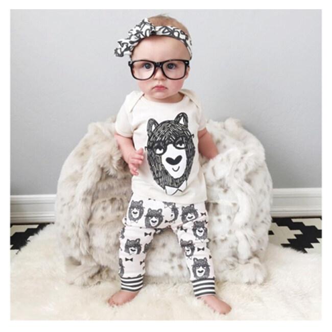 Little Monster เสื้อ+กางเกงเข้าชุด สีขาว สำหรับเด็กอายุ 6-18 เดือน ...