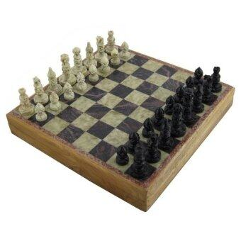 Marble Stone Art Unique India Chess Pieces and Board Set 14 X 14 Inch - Intl