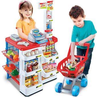 Morestech ชุดของเล่น Supermarket+เครื่องสแกน+รถเข็น (สีเขียว) 668-03
