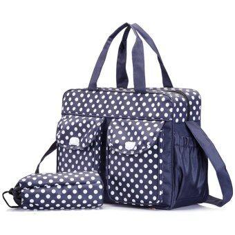 Multifunctional big capacity mommy and baby bag diaper bag 3 in 1 Dark Blue big dot (Intl)