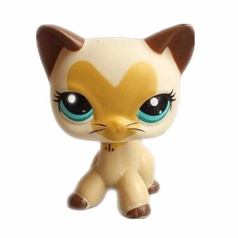Pet Shop Animal Beige cat with heart pattern Doll Figure Child ToyLPS Gift Figure Doll Christmas birthday girl gift toys - intl