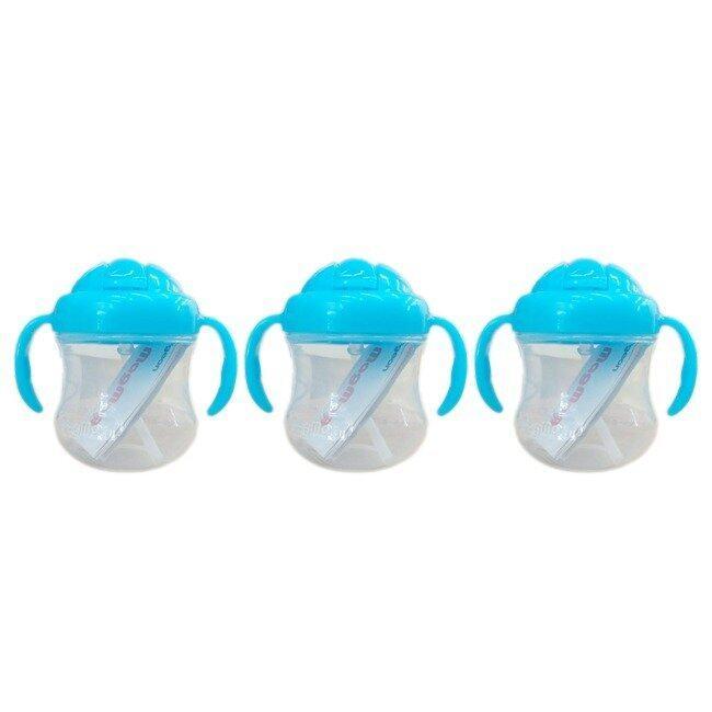 Pigeon ถ้วยหัดดื่ม MagMag Straw Cup 8+ months 7 oz./200ml 3 ขวด (สีฟ้า) ...