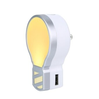 powercreat Plug In LED Night Light With 5V 3.1A Dual USB WallCharger. Adjustable Brightness Nightlight Lamp For Bathroom BedroomWith 2 Light Colors - intl