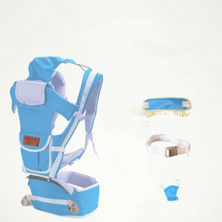 Pure Cotton New Sky Blue 10 in 1 Multifunctional Baby Carrier Waist Belt with Waist Stool - intl