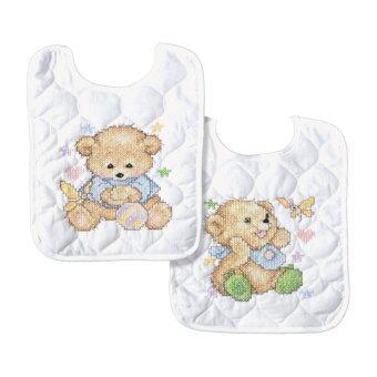 Tobin Baby Bears Bib Pair Stamped Cross Stitch Kit, 20cm x 25cm , Set Of 2 - intl