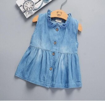 Toddler Kids Baby Girls Summer Beach Denim Princess Party PageantDresses - intl