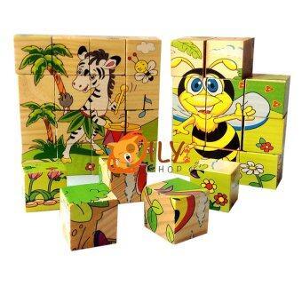 Wood Toy ของเล่นไม้ บล็อกไม้ลูกเต๋า ต่อได้ 6 ด้าน คละลายจำนวน 1 ชิ้น