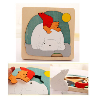 Wooden Animal Puzzle Toy-Polar Bears