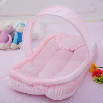 YBC Portable Folding Baby Mosquito Nets Cradle Bed Sleeping CribsPink - intl