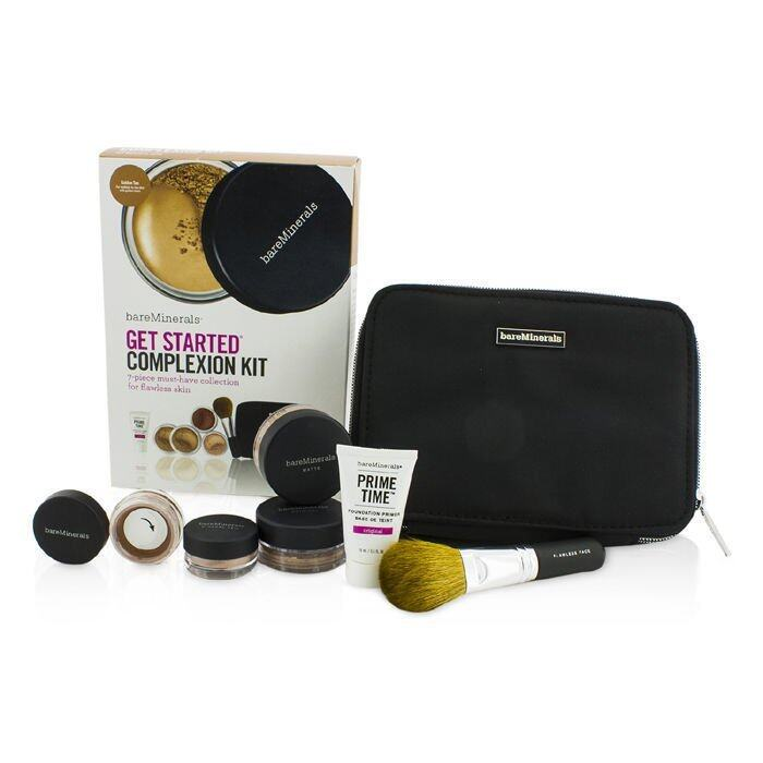 Bare Escentuals BareMinerals Get Started Complexion Kit For Flawless Skin - # Golden Tan 6pcs+1clutch