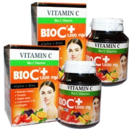 BIO C Vitamin Alpha+Zinc 1,500 mg. ไบโอ ซี วิตามิน ขนาด 30 เม็ด (2 กล่อง) ...
