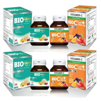 BIO C Vitamin Alpha+Zinc 1,500 mg. ไบโอ ซี วิตามิน ขนาด 30 เม็ด +BIO Gluta Melon Clear ACNE+Oil control 1,500 mg ไบโอ กลูต้า เมลอน ขนาด 30 เม็ด (อย่างละ 2 ขวด)