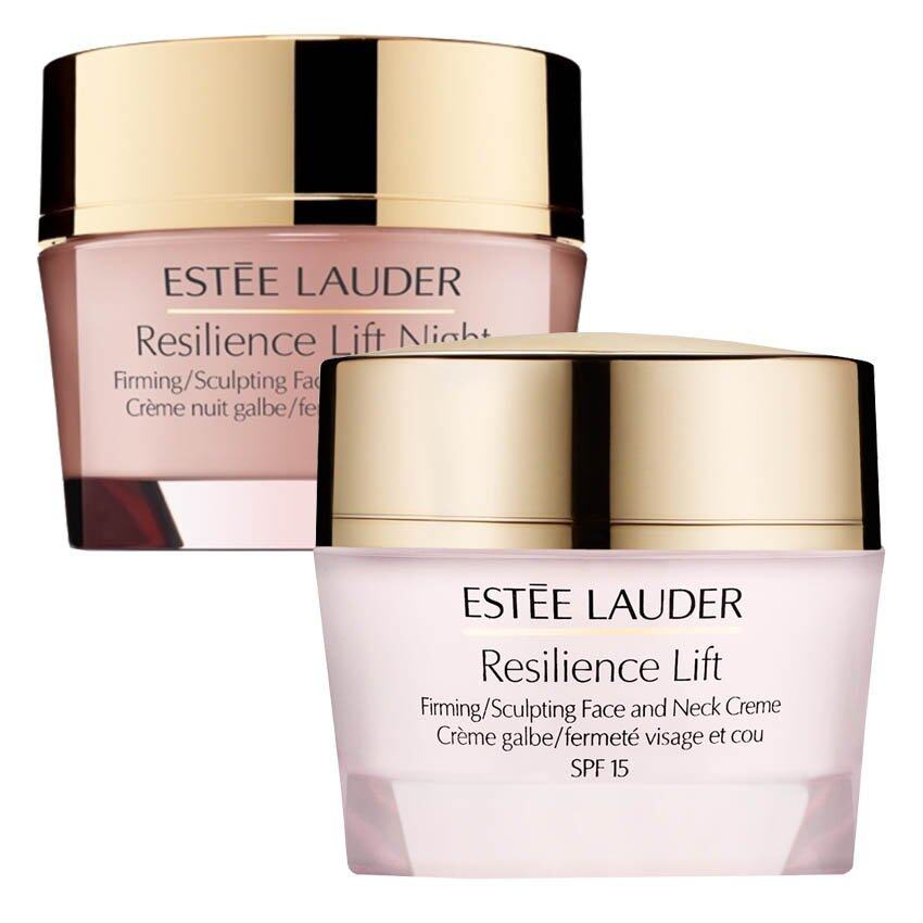 Estee Lauder Resilience Lift Firming/Sculpting Face And Neck Creme SPF15 15ml (1 กระปุก) + Estee Lauder Resilience Lift Night Firming/Sculpting Face and Neck Creme 15ml (1 กระปุก)