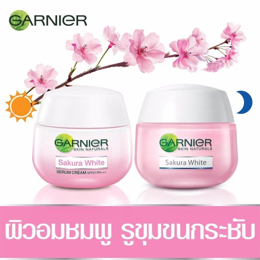 GARNIER ชุดเซ็ตซากุระไวท์ครีม (เดย์ครีม 50 มล. + ไนท์ครีม 50 มล.) Set Garnier Sakura White (Day Cream 50ml + Night Cream 50ml)