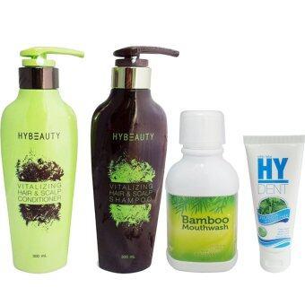 Hybeauty Vitalizing Hair & Scalp Conditioner + Shampoo + Bamboo mouthwash น้ำยาบ้วนปาก + HyDENT ยาสีฟันไฮเด็นท์