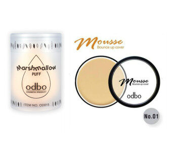 Odbo ฟองน้ำไข่ Marshmallow Puff+Odbo รองพื้นเนื้อมูส Mousse Bounce up cover No.1
