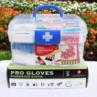 "PK MED ชุดปฐมพยาบาล รุ่น PKA-832 - สีขาว/น้ำเงิน + PK MED ถุงมือยาง Pro Gloves Size ""S"" - สีขาว"