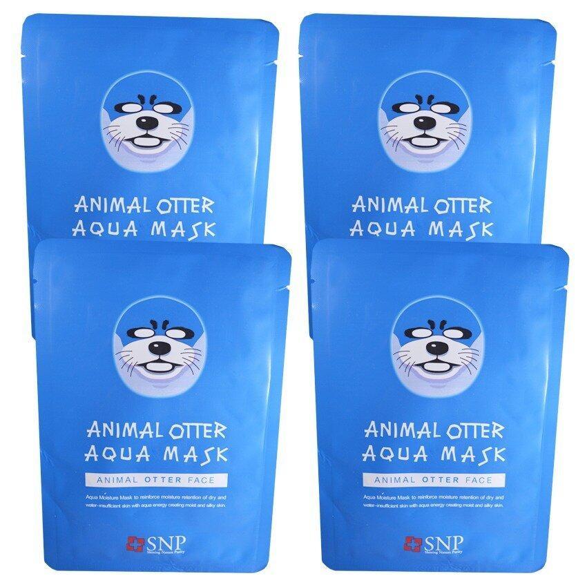 SNP Animal Otter Aqua Mask แผ่นมาส์คหน้ารูปสัตว์ (4 แผ่น)