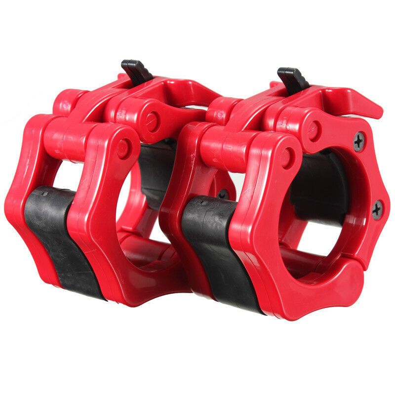 2 Lock Collars Standard Olympic Barbell Collars Weight Lifting Crossfit Gym Red