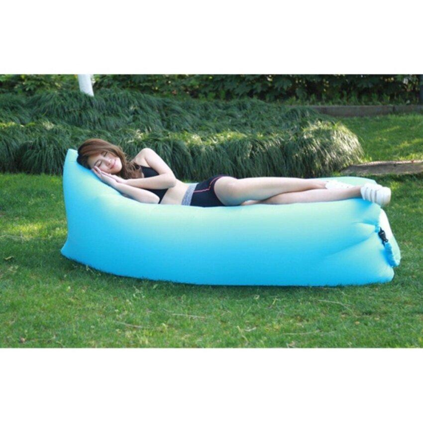 240*75cm Fast Inflatable Lazy bag Air Sleeping Bag Camping Portable Air Sofa Beach Bed Air Hammock Nylon Banana Sofa Lounger - intl