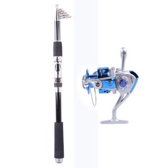 2.4M Whale Super light Portable Carbon Fishing Rod+Rocker Reel Fishing Spool Vessel Fish Reel Rod Sea Spinning Wheel Line Gear YL4000 (Blue)